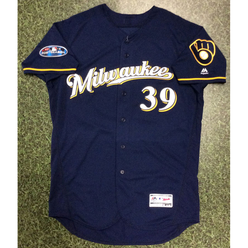 Photo of Corbin Burnes 2018 Game-Used Postseason Jersey - NLCS Games 3 & 4