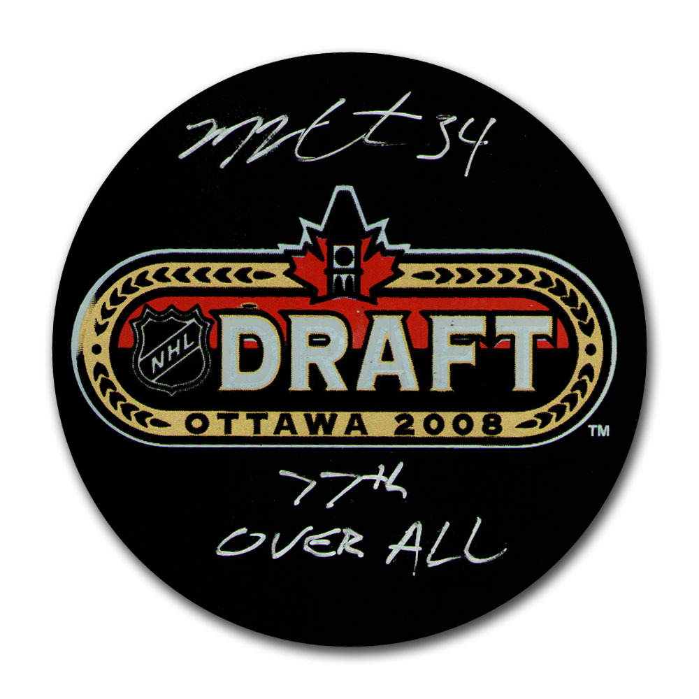 Michael Hutchinson Autographed 2008 NHL Entry Draft Puck w/77TH OVERALL Inscription (Winnipeg Jets)