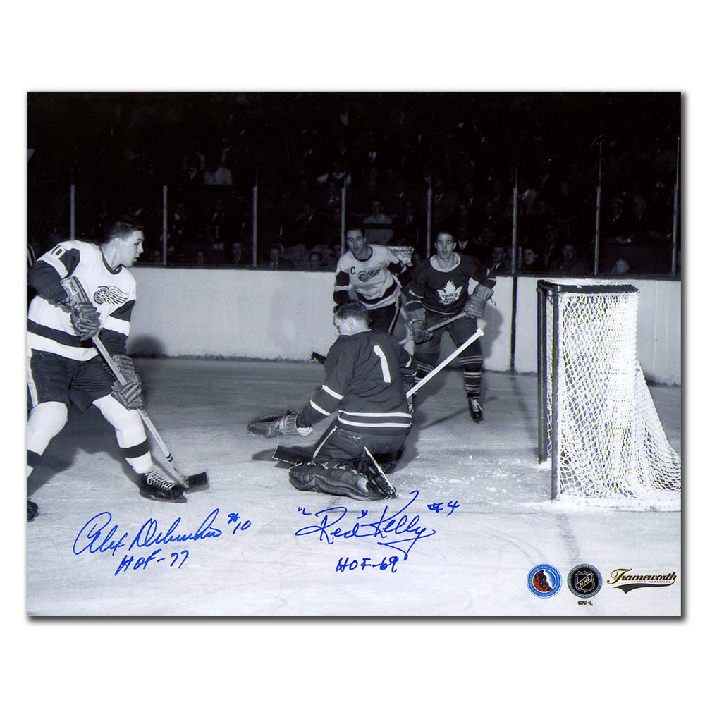 Alex Delvecchio & Red Kelly Detroit Red Wings HOF Dual Autographed 8x10 Photo