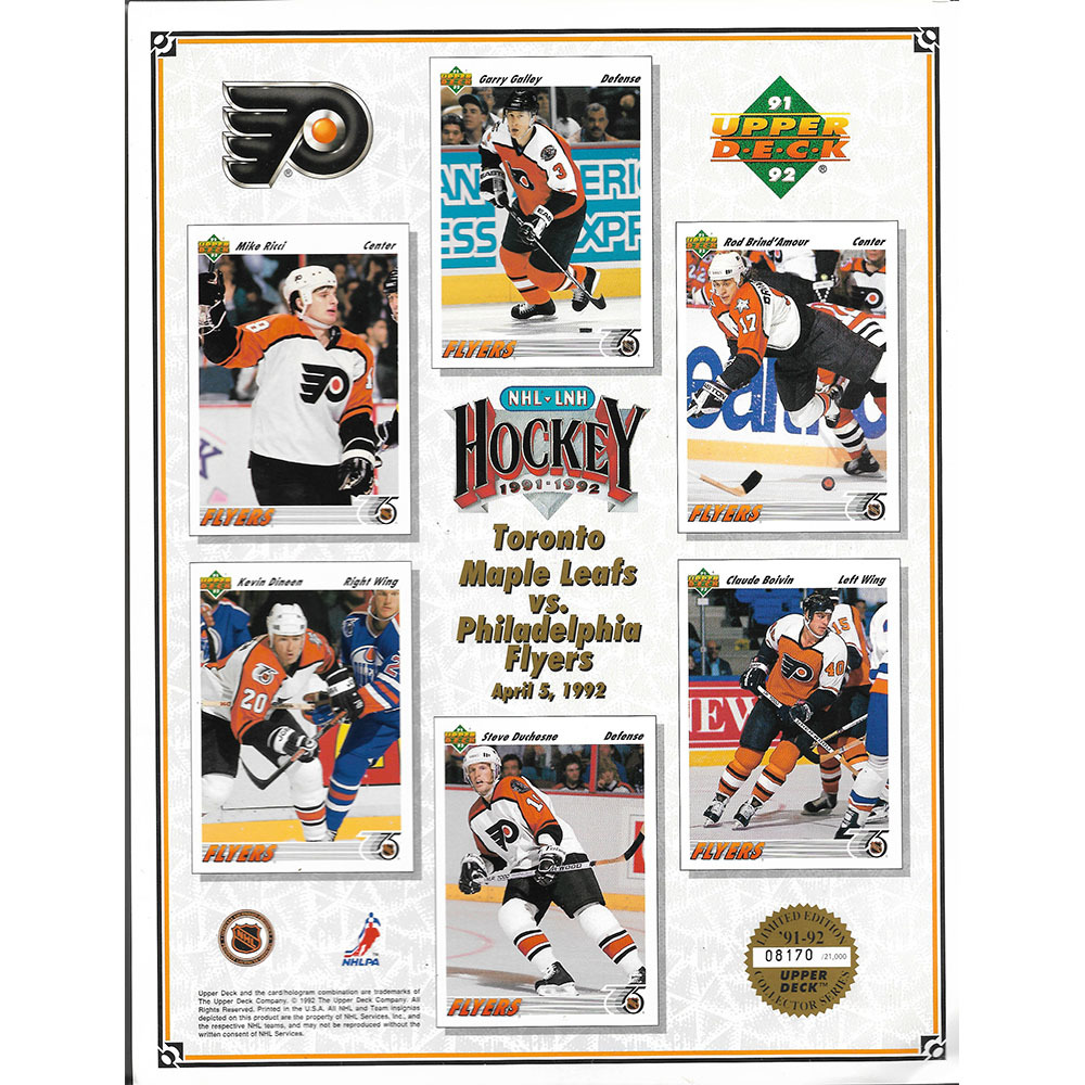 Philadelphia Flyers 1991-92 Upper Deck Limited-Edition Collector's Sheet