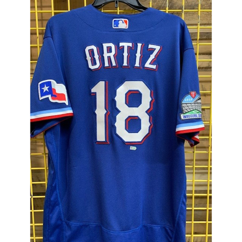 Photo of Luis Ortiz Team-Issued 2020 Royal Blue Jersey With Globe Life Field Inaugural Season Patch