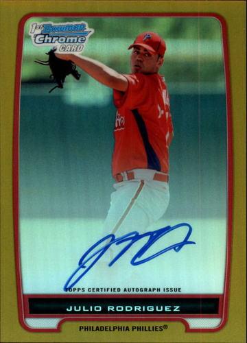 Photo of 2012 Bowman Chrome Prospect Autographs Gold Refractors #BCP101 Julio Rodriguez