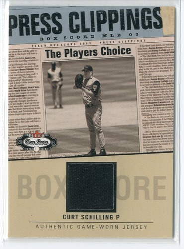 Photo of 2003 Fleer Box Score Press Clippings Game Jersey #CS Curt Schilling