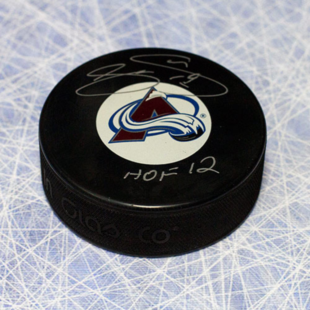 Joe Sakic Colorado Avalanche Autographed Hockey Puck w/ HOF Note