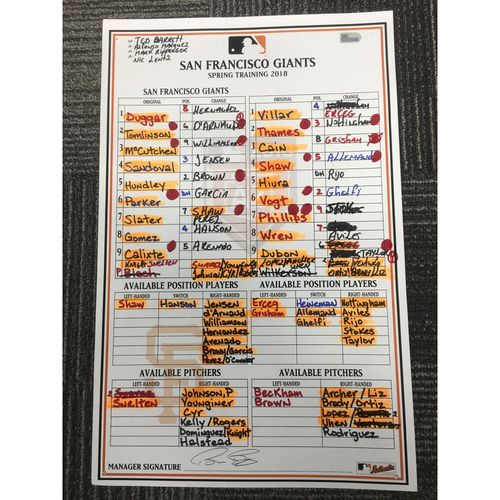 Photo of San Francisco Giants - 2018 Game Used Spring Training Lineup Card - 2/23/18 vs MIL