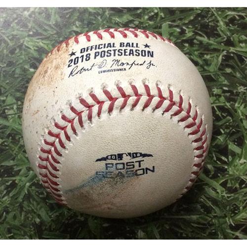 Photo of Game-Used Baseball NLDS Game 2 COL@MIL 10/05/18 - Jeremy Jeffress - Ian Desmond: Strikeout (Jeffress' 4th Career Postseason Strikeout)