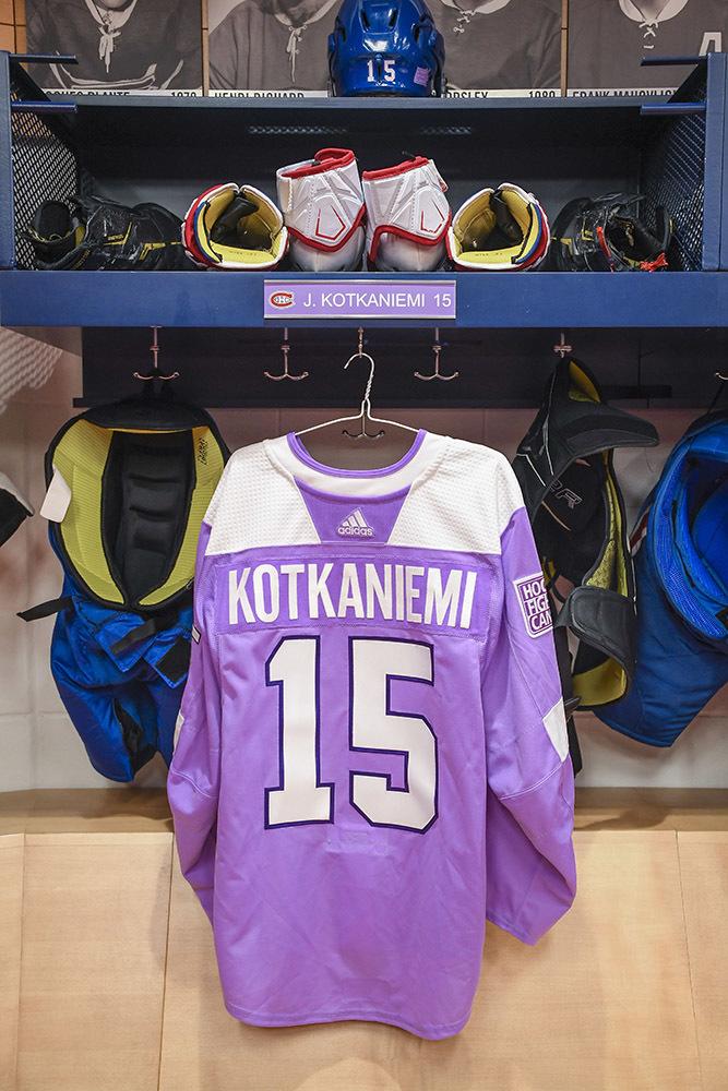 #15 Jesperi Kotkaniemi Warm-Up Worn and Autographed Hockey Fights Cancer Jersey