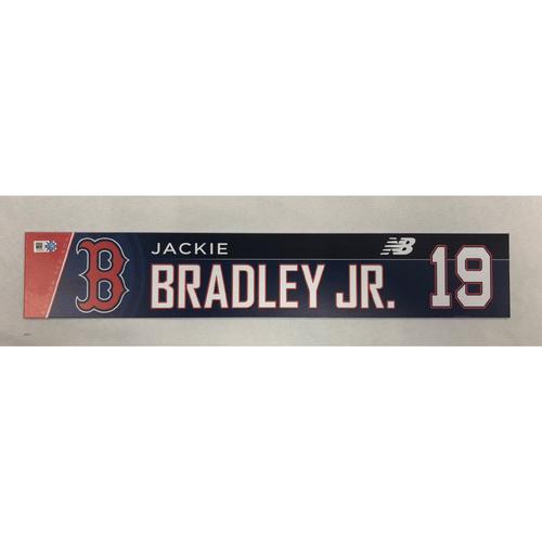 Photo of Jackie Bradley Jr May 2, 2018 Game-Used Locker Tag