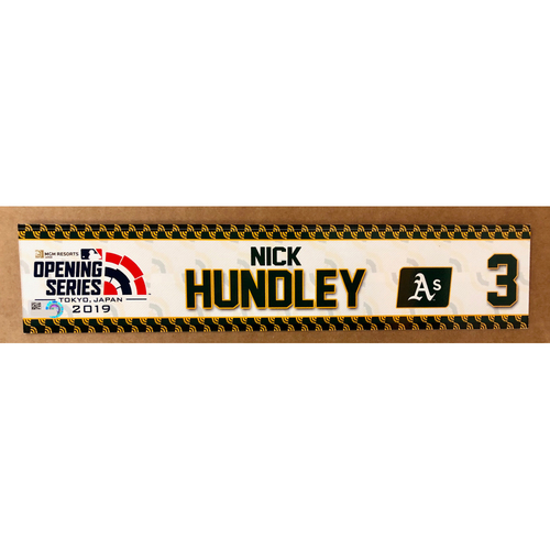Photo of 2019 Japan Opening Day Series - Game Used Locker Tag - Nick Hundley -  Oakland Athletics
