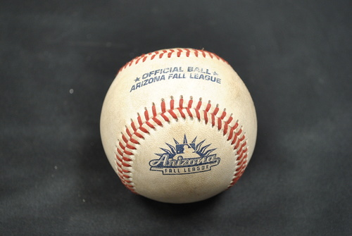 Photo of Game-Used Baseball: 2019 Arizona Fall League - Pitcher: Connor Johnstone (ATL), Batters: Blake Rutherford (CWS) - Groundout, Conner Capel (STL) - Groundout, Tyler Stephenson (CIN) - Double - Bot 4 - 10/06/2019
