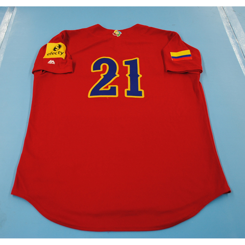 Photo of 2017 World Baseball Classic: Colombia Batting Practice Jersey #21 - Jhonatan Solano - Size L