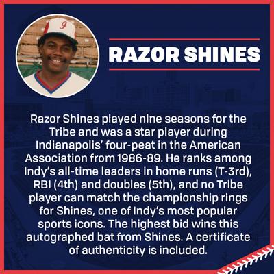 Razor Shines Autographed Bat
