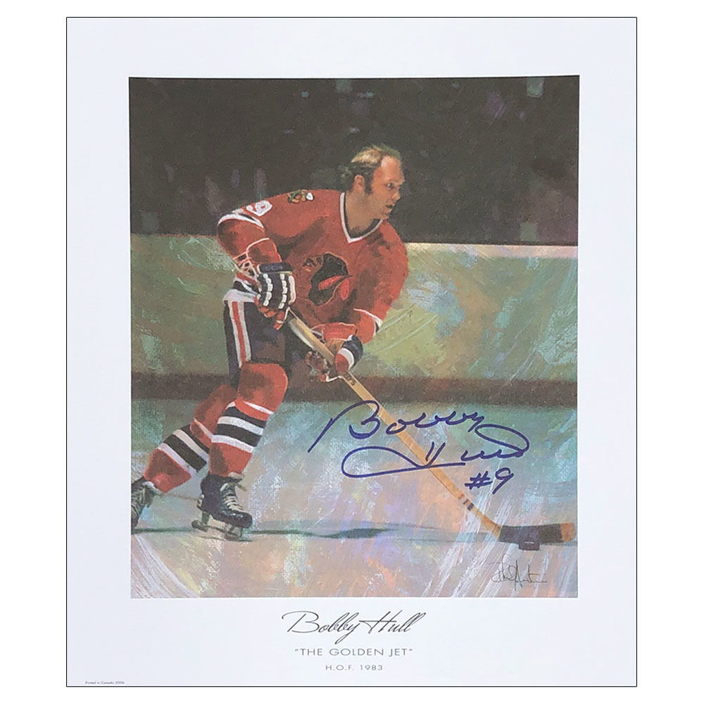 Bobby Hull Autographed 11X13 Lithograph - The Golden Jet