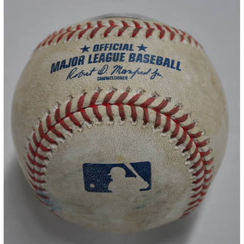 Photo of Game-Used Baseball - CLE vs. PIT - 8/18/2020 - Pitcher - J.T. Brubaker, Batter - Cesar Hernandez, Top 3, Double
