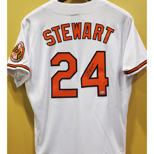 Photo of DJ Stewart Autographed White Home Jersey - Size 44