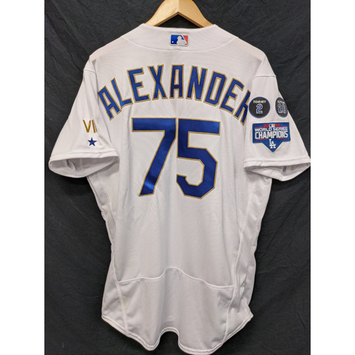Photo of Scott Alexander Game-Used Gold Trim 2021 Opening Weekend Home Jersey
