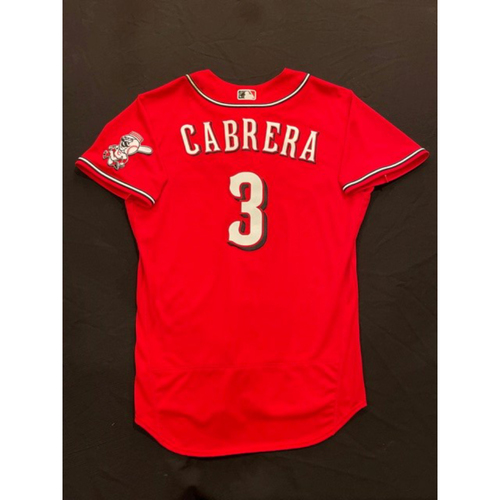 Photo of Asdrubal Cabrera -- 2021 Los Rojos Jersey -- Game Used from Sept 24 (Pinch Hitter: Went 0-for-0, BB) -- Size: 48