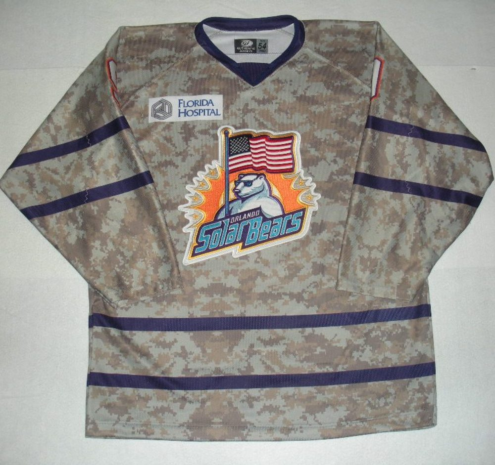 Orlando Solar Bears - David Rutherford - Military Appreciation Night Camo Game-Worn Jersey
