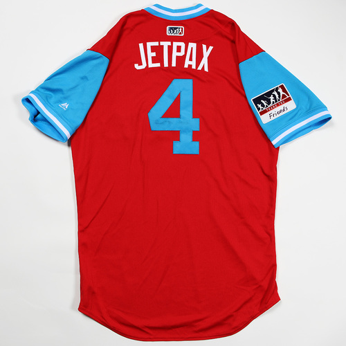 "Photo of Scott ""Jetpax"" Kingery Philadelphia Phillies Game-Used Jersey 2018 Players' Weekend Jersey"