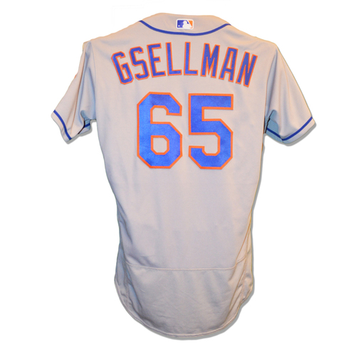 Photo of Robert Gsellman #65 - Game Used Road Grey Jersey - Earns 12th Save - Mets vs. Nationals - 9/21/18