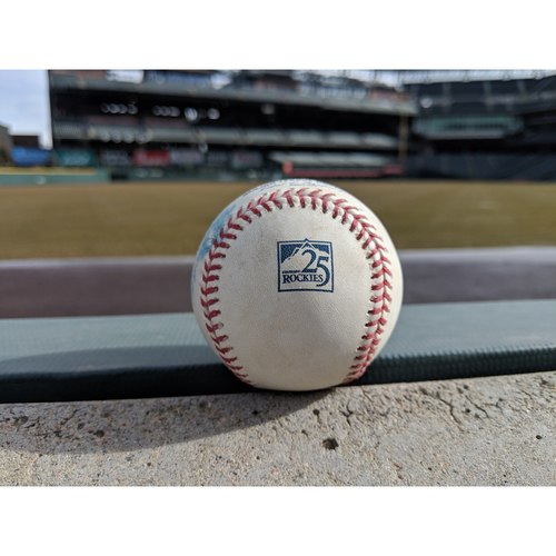 Photo of Colorado Rockies Game-Used Baseball - Senzatela v. Panik - Double (14) to Holliday - September 05, 2018