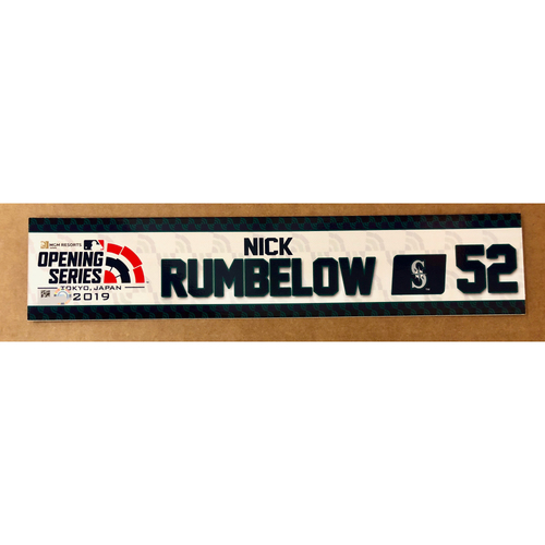 Photo of 2019 Japan Opening Day Series - Game Used Locker Tag - Nick Rumbelow -  Seattle Mariners