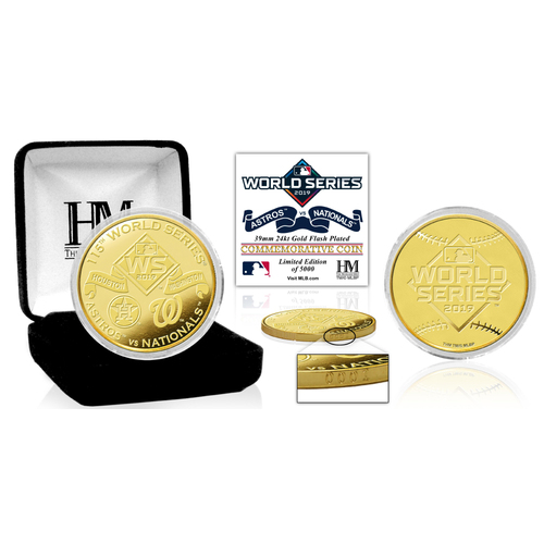 Photo of 2019 Houston Astros and Washington Nationals World Series Dueling Gold Mint Coin