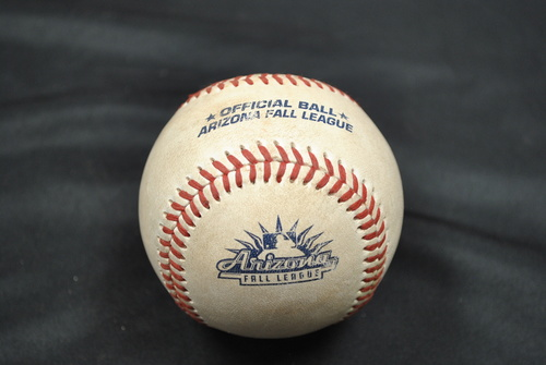 Photo of Game-Used Baseball: 2019 Arizona Fall League - Pitcher: Tyler Schimpf (SFG), Batter: Tyler Stephenson (CIN) - RBI Double - Bot 7 - 10/06/2019