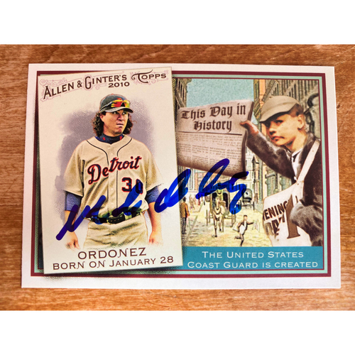 Photo of Magglio Ordoñez Autographed Detroit Tigers 2010 Allen & Ginter's Baseball Card (NOT MLB AUTHENTICATED)
