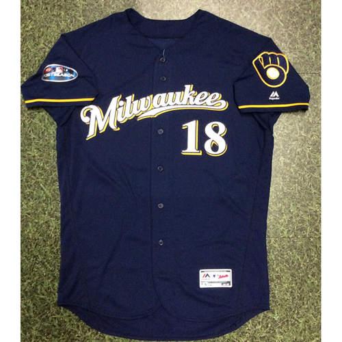 Photo of Mike Moustakas 2018 Game-Used Postseason Jersey - NLCS Games 3 & 4