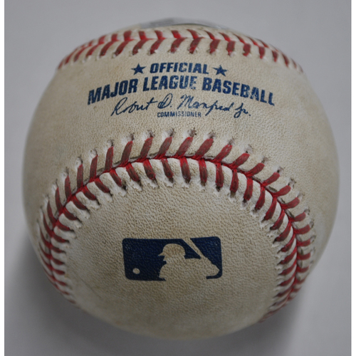 Photo of Game-Used Baseball - MIL vs. PIT - 8/21/2020 - Pitcher - Adrian Houser, Batter - Cole Tucker, Bottom 2, Single
