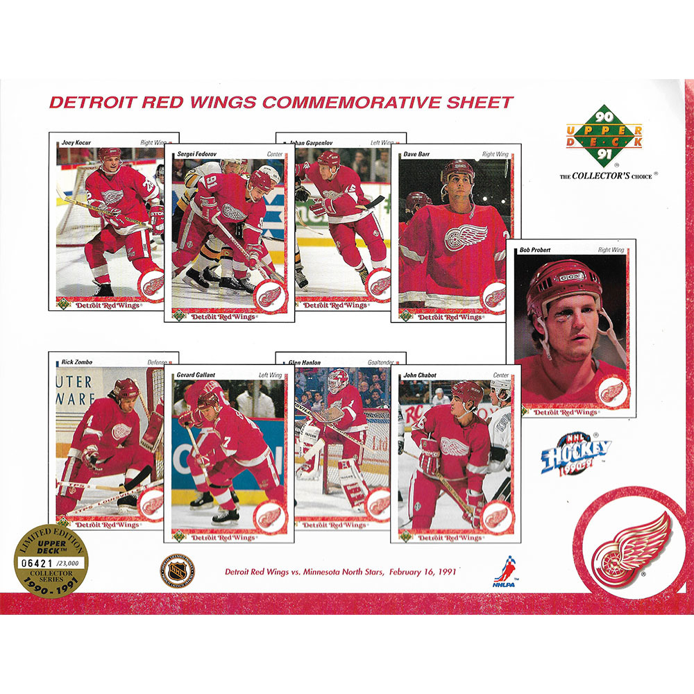 Detroit Red Wings 1990-91 Upper Deck Limited Edition Collector's Sheet