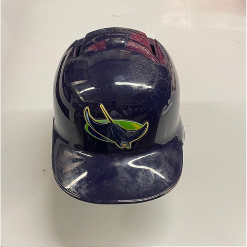 Photo of Game Used Devil Rays Home Run Helmet: Willy Adames - September 21, 2019 v BOS (See Description for Details)