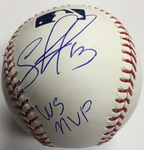 "Photo of Salvador Perez Autographed ""WS MVP"" Baseball"