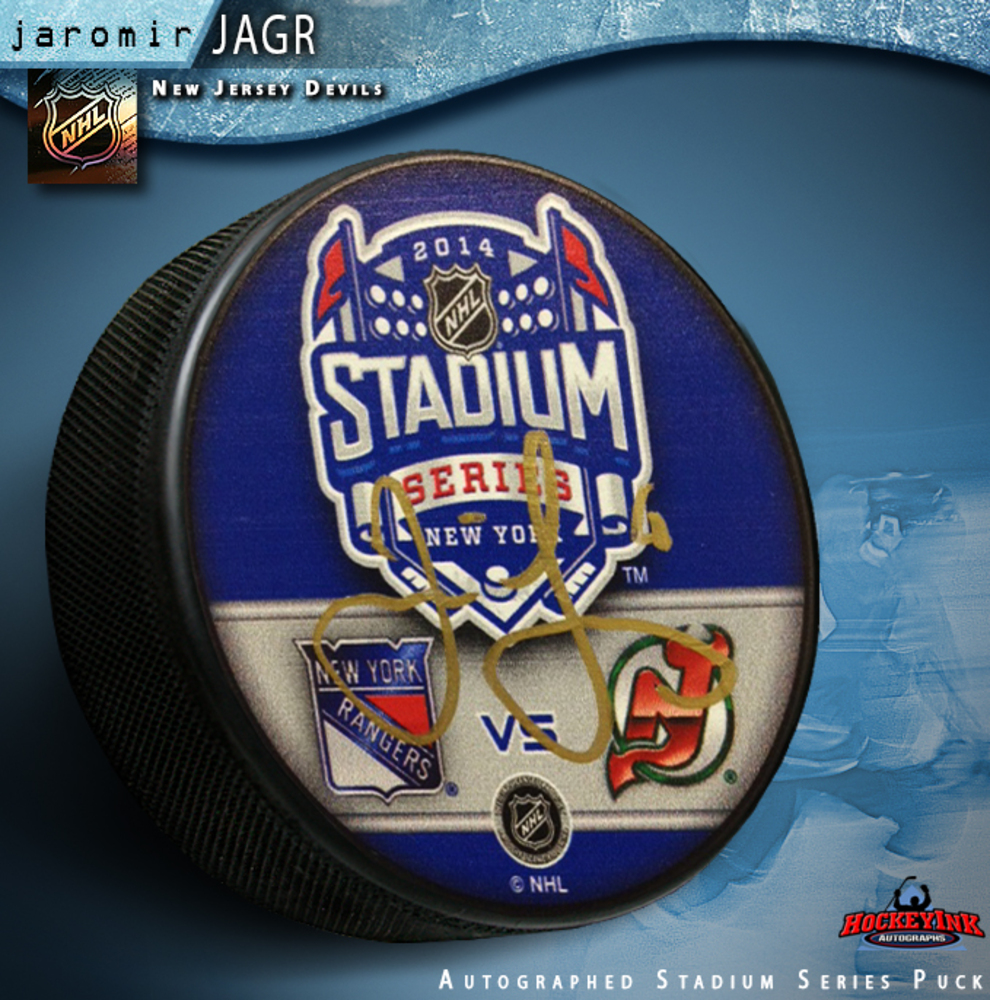 JAROMIR JAGR Signed 2014 NHL Stadium Series New Jersey Devils Puck