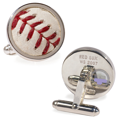 Tokens & Icons Boston Red Sox 2007 World Series Game-Used Baseball Cuff Links - Game 2
