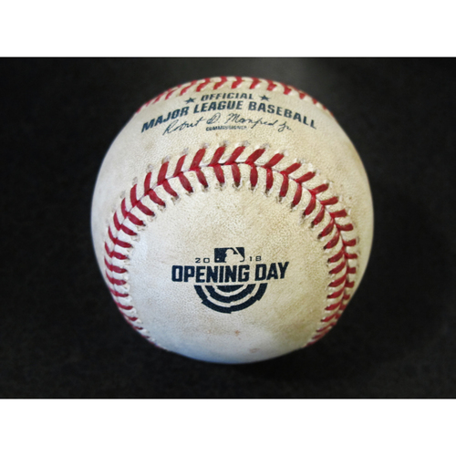 Photo of Opening Day Game Used Baseball: (SEA-CLE 3-29-2018) - Felix Hernandez Strikes Out Bradley Zimmer. Lindor Foul.