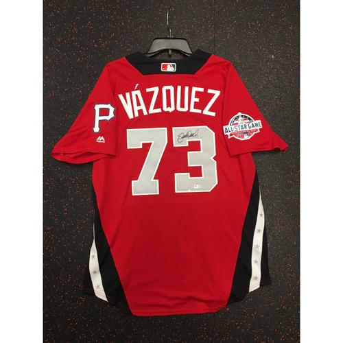 Photo of Felipe Vazquez 2018 Major League Baseball Workout Day Autographed Jersey