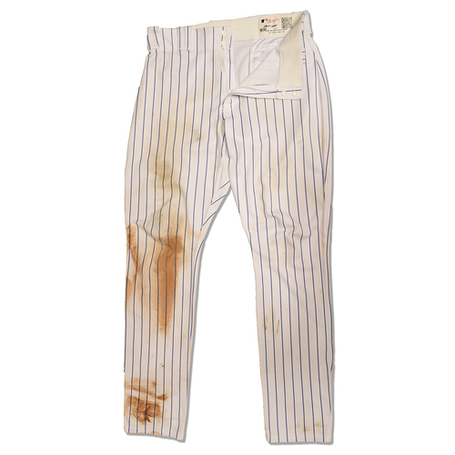 Photo of Devin Mesoraco #29 - Game Used White Pinstripe Pants - Mets vs. Nationals - 7/15/18