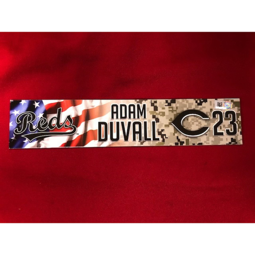 Photo of Adam Duvall - Game-Used - Military Appreciation Locker Tag (2018)