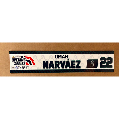 Photo of 2019 Japan Opening Day Series - Game Used Locker Tag - Omar Narvaez -  Seattle Mariners