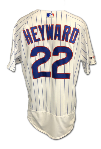 Photo of Jason Heyward Game-Used Jersey -- Mother's Day 2019 -- Size 46 -- Brewers vs. Cubs -- 5/12/19