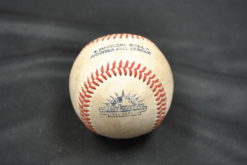 Photo of Game-Used Baseball: 2019 Arizona Fall League - Pitcher: Jackson Rees (LAD), Batters: Conner Capel (STL) - Lineout, Tyler Stephenson (CIN) - Single - Bot 9 - 10/06/2019