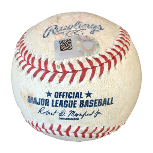 Photo of Game-Used Baseball - CLE @ MIN 8/11/19 - Pitcher: Jose Berrios, Batter(s): Yasiel Puig Top 1 RBI Double (19), Carlos Santana Walk