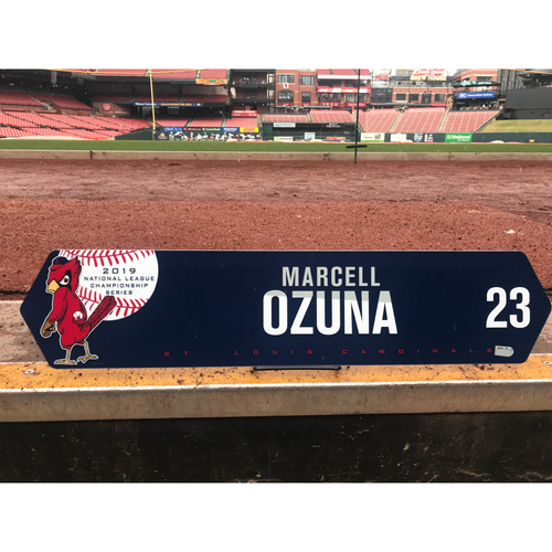 Photo of Cardinals Authentics: Marcell Ozuna 2019 Game Used NLCS Locker Tag