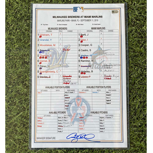 Photo of Game-Used Lineup Card: 09/11/19 at MIA (Hader SV 30)