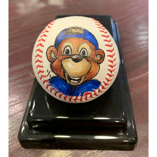 Photo of Chicago Cubs - Clark The Cub - Original Ball Art by S. Preston - Autographed by Clark the Cub Himself!