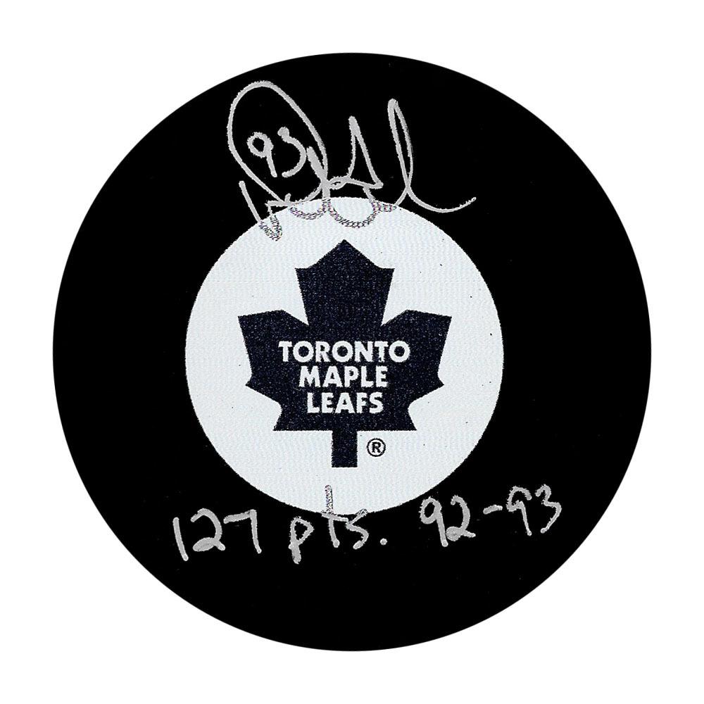 Doug Gilmour Autographed Toronto Maple Leafs Puck w/127 PTS 92-93 Inscription