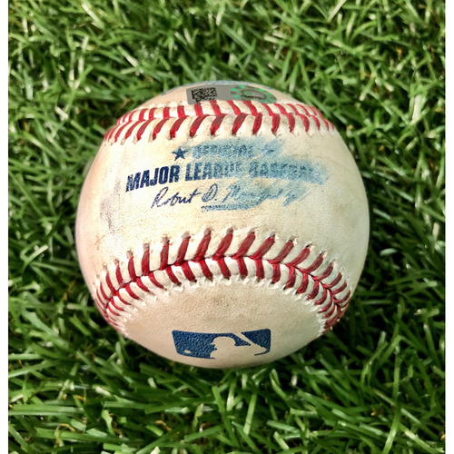 Photo of Game Used Baseball: Danny Jansen fly out and Brandon Drury single off Blake Snell - Brandon Drury First Hit of 2020 - July 26, 2020 v TOR