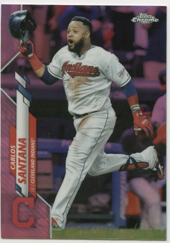 Photo of 2020 Topps Chrome Pink Refractors #165 Carlos Santana
